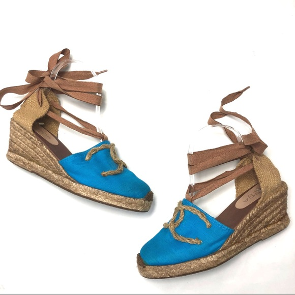 Tosca Blu Espadrille Wedge Ankle Tie up size 8.5